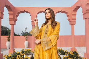 Honey Gold  Luxury Unstitched 3 pc Embroidered & Sheesha Work On Cotton Net Shirt With Pure Chiffon Dupatta & Dyed Matching Raw Silk Trouser - yesonline.pk