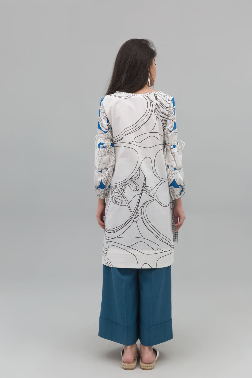 White modern walk Fusion Printed Shirt in 100% Cotton (minimum 30 pieces & 10 from one design) - yesonline.pk