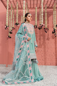 Icy Morn Luxury Unstitched 3 pc Embroidered & Sheesha Work On Raw Silk Shirt With Organza Dupatta & Dyed Matching Raw Silk Trouser - yesonline.pk
