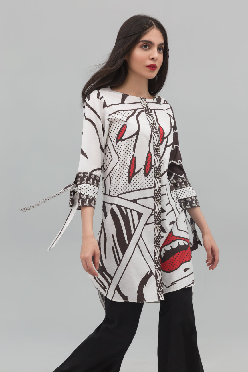 Black & White Fashionista Fusion Printed Shirt In 100% Cotton