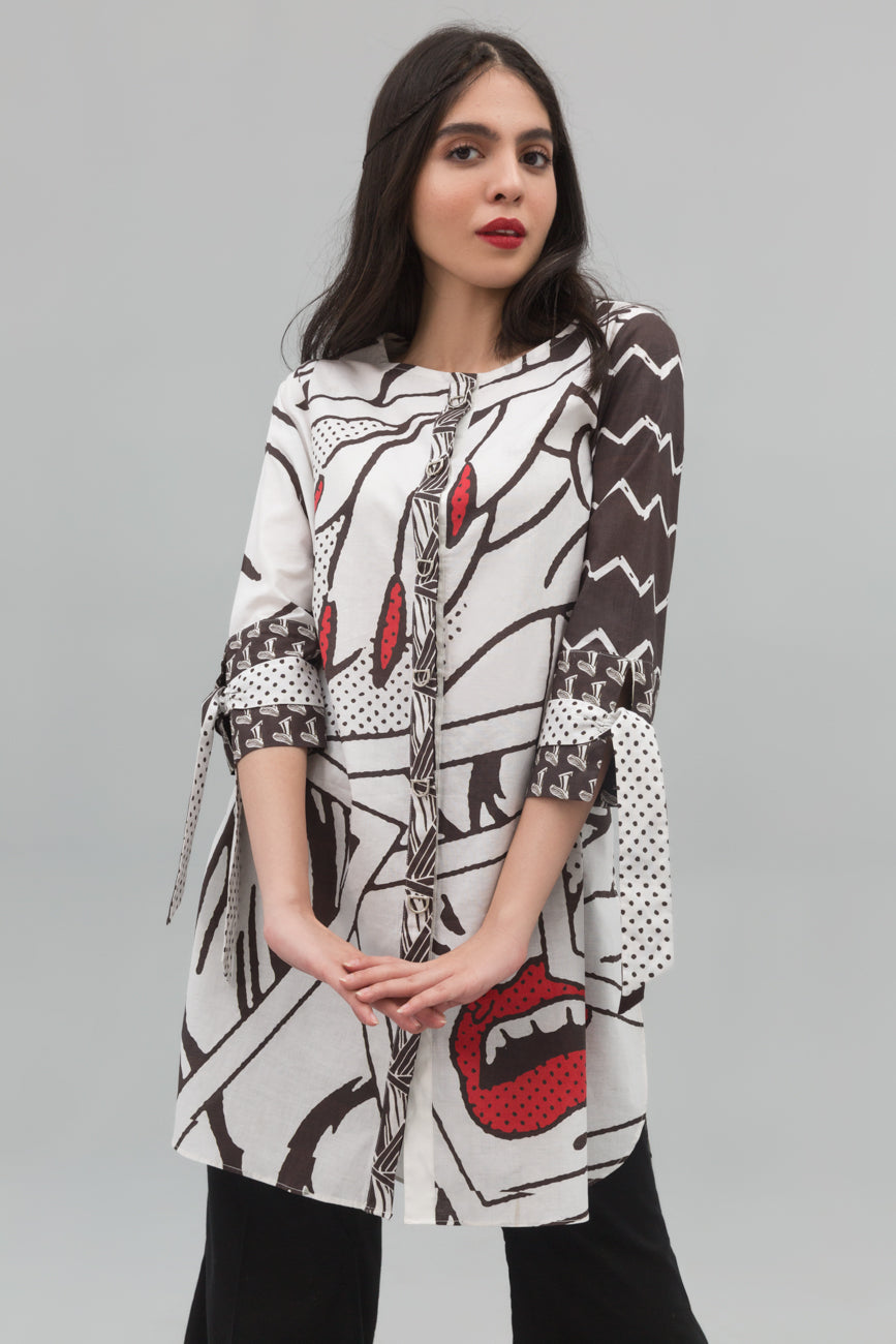 Black & White Fashionista Fusion Printed Shirt In 100% Cotton (minimum 30 pieces & 10 from one design) - yesonline.pk