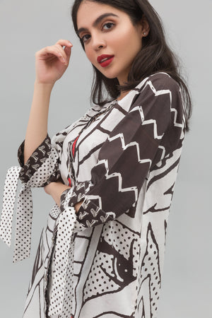 Black & White Fashionista Fusion Printed Shirt In 100% Cotton - yesonline.pk