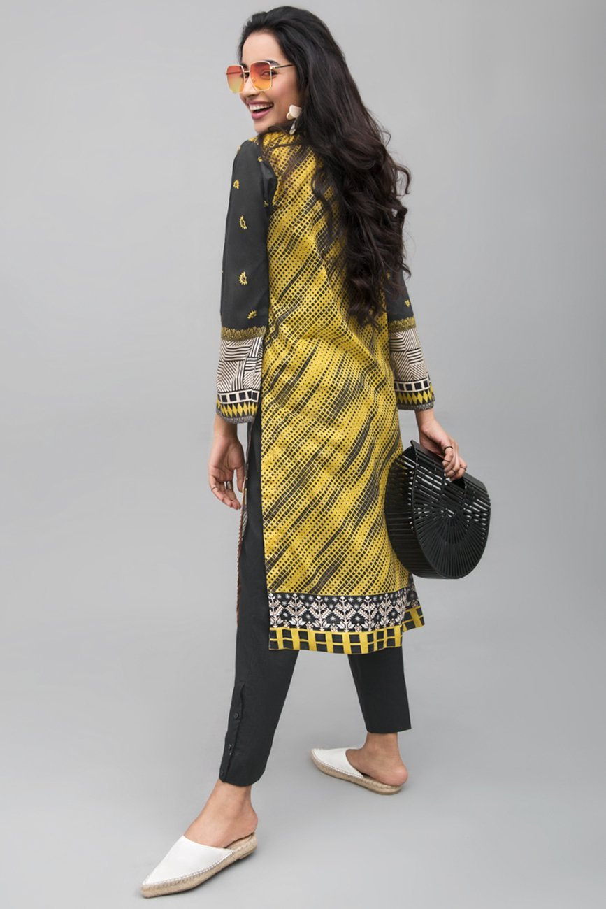 BLACK AND YELLOW - 1 pc Unstitched | Digital Printed Lawn Shirt - yesonline.pk