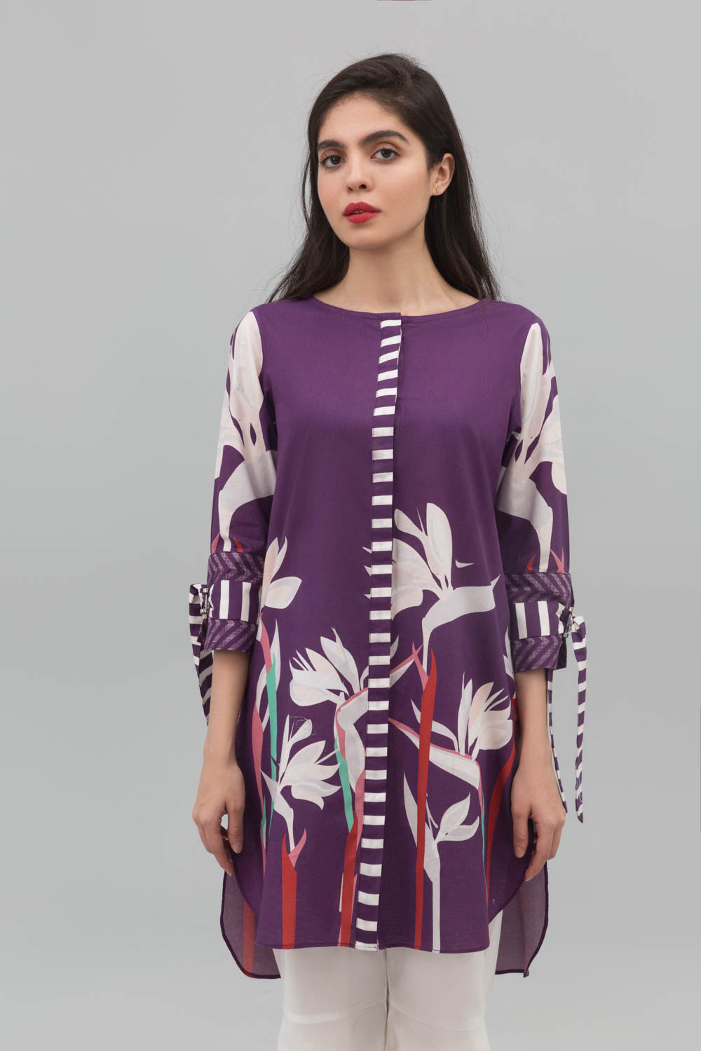 Purple Floral Buzz Fusion Printed Shirt In 100% Cotton