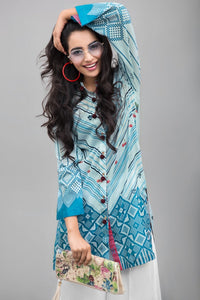 BLUE PINK - 1 pc Unstitched | Digital Printed Lawn Shirt - yesonline.pk