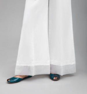White Pintucks Q-Lot  Pant,100%  Cotton By Yesonline.Pk - yesonline.pk