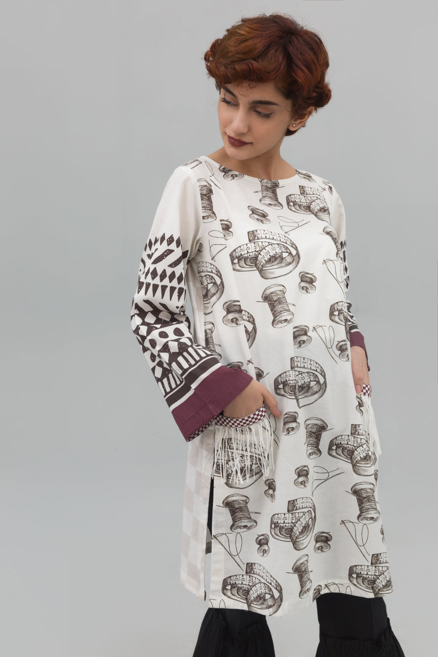 White Sewing Art Fusion Printed Shirt In 100% Cotton - yesonline.pk