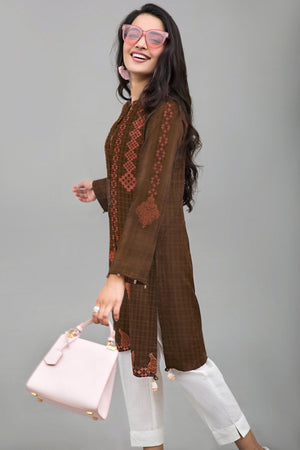 CORAL & BROWN - 1 pc Unstitched | Digital Printed Lawn Shirt - yesonline.pk