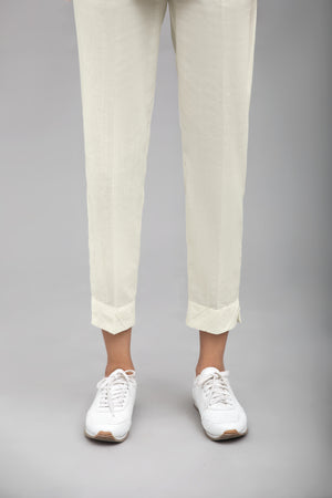 Off White Slim Fit Pant 100 % Cotton By Yesonline.Pk - yesonline.pk