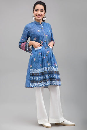 DENIM LOOK PINK - 1 pc Unstitched | Digital Printed Lawn Shirt - yesonline.pk