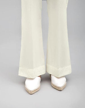 Off White Boot Cut Pant 100 % Cotton By Yesonline.Pk - yesonline.pk