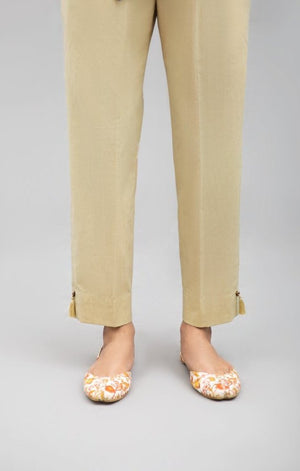 Beige Slim Fit pant 100 % Cotton By Yesonline.Pk - yesonline.pk
