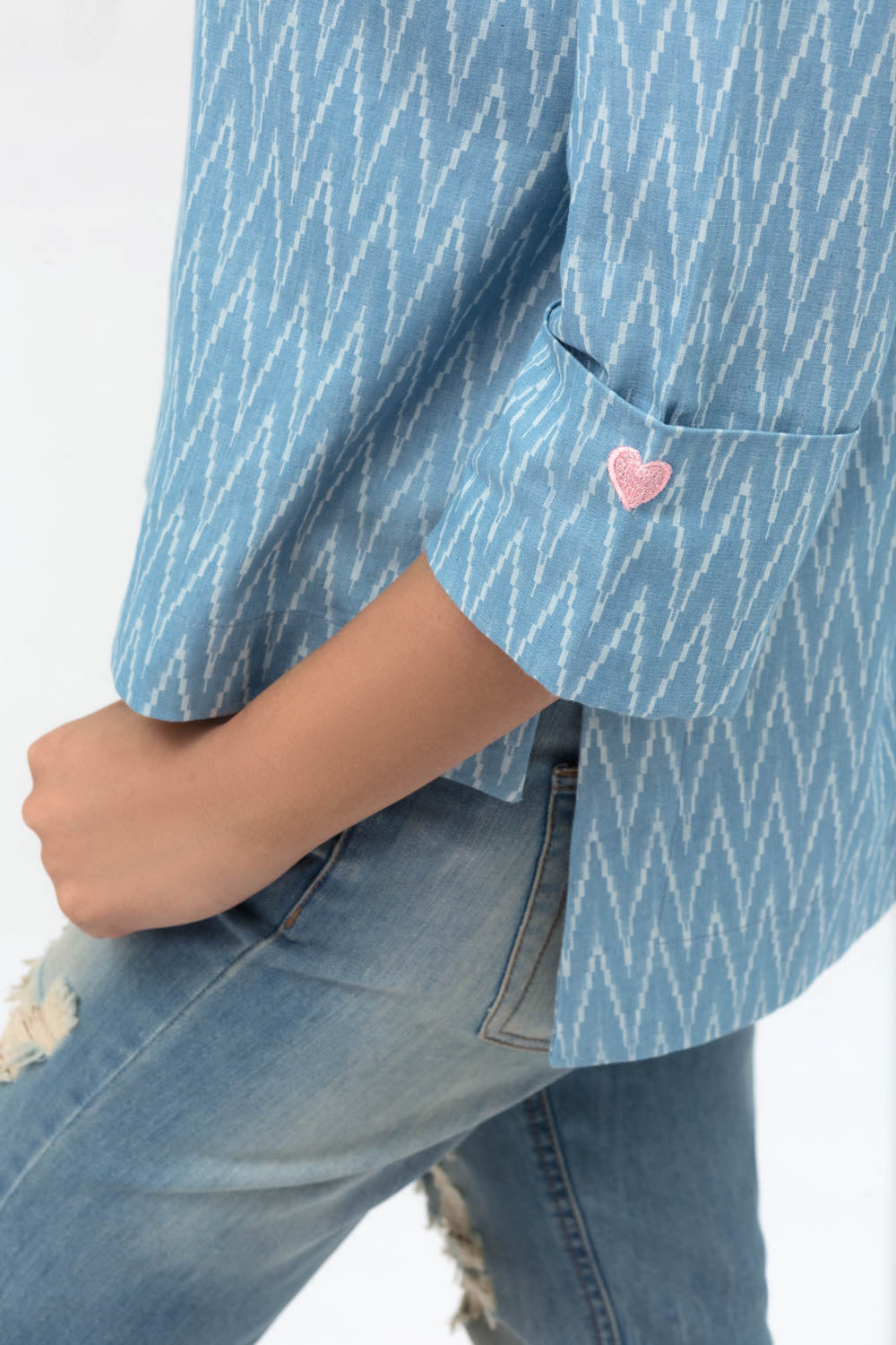Light Blue Double Cuff Shirt In Cotton with Short Length - yesonline.pk