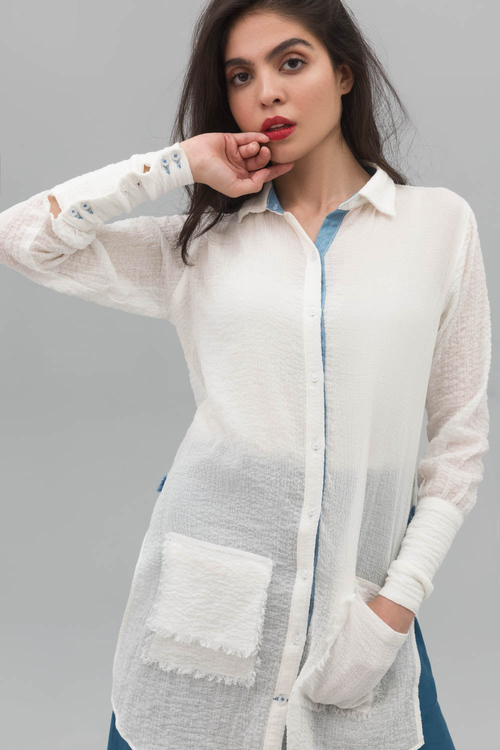 White Button Down Fusion Shirt In Crinkle Cotton