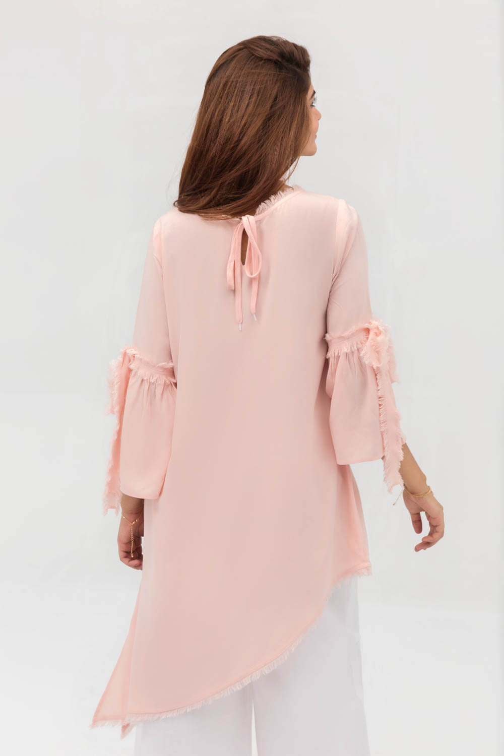Pink Side Down Long Shirt In Crepe Fabric With Long Length - yesonline.pk