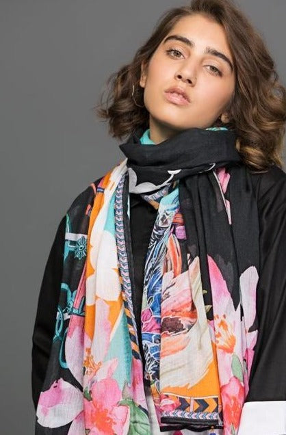 Floral flash Scarf Fine cotton Fabric By Yesonline.pk - yesonline.pk