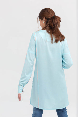 Light Blue Lapel Shirt Long Length in Cotton Rich - yesonline.pk