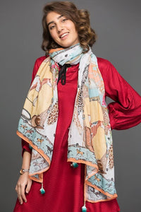 A Horse Tale Scarf Fine cotton Fabric By Yesonline.pk - yesonline.pk