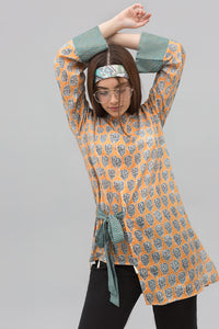 Block Print Style Yellow Unstitched Lawn Printed Shirt - yesonline.pk