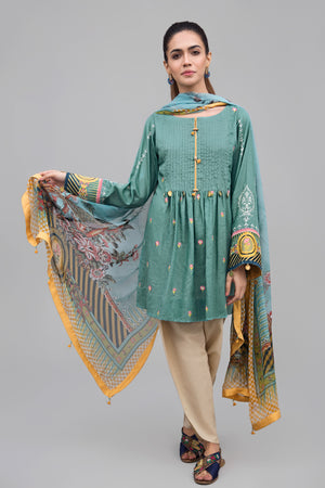 MINT TANGERINE Unstitched 2 pc Slub Lawn With Embroidered Shirt and Chiffon Dupatta combo - yesonline.pk