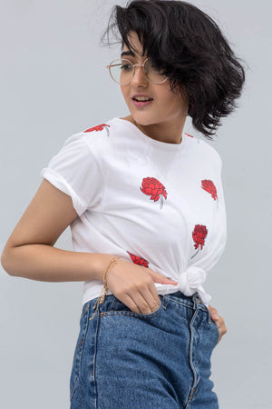 Red Rose On White Cotton T-Shirt In Print & Embroidery - yesonline.pk