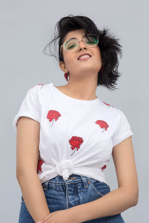 Red Rose On White Cotton T-Shirt In Print & Embroidery