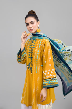 MARIGOLD &  BLUE Unstitched 2 pc Dobby Lawn With Embroidered Shirt and Chiffon Dupatta combo - yesonline.pk
