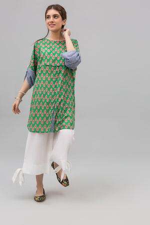 Green Block Print Style Unstitched Lawn Printed Shirt - yesonline.pk