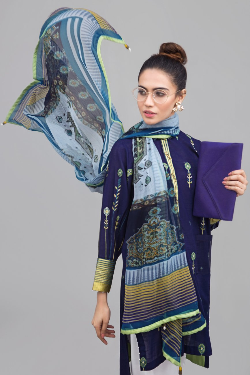 AZURE DREAMS  Unstitched 2 pc Slub Lawn With Embroidered Shirt and Chiffon Dupatta combo - yesonline.pk