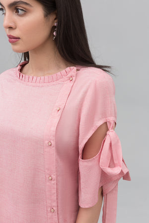 Pink Shirt with Experimental Embroidery on Cotton