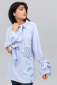 Light Blue Open Sleeve Shirt With Experimental Embroidery on Cotton Rich - yesonline.pk
