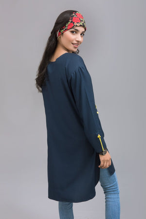 Navy Blue Linen Stitch Shirt By Yesonline - yesonline.pk