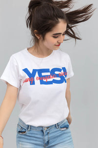 Young Energetic Social White Statement T-shirt In Print
