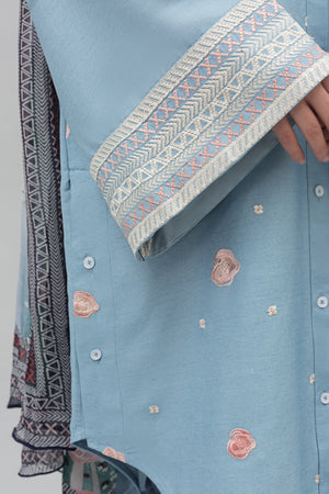 Cactus Unstitched 2PC Cotton Chambray shirt  Embroidered Plus Chiffon Dupatta - yesonline.pk