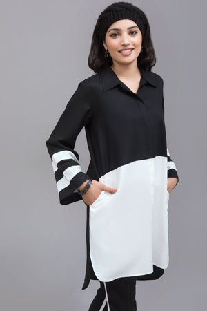 Black & White Linen Stitch Shirt By Yesonline - yesonline.pk
