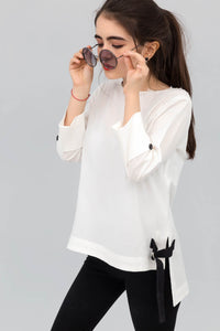 White Double cuff Long Fusion Shirt in Cotton