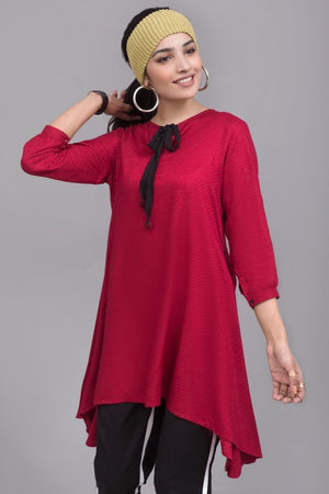 Red Flared Doby Linen Stitch Shirt By Yesonline - yesonline.pk