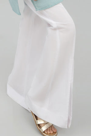 White Boot Cut Pant,100%  Staple Cotton - yesonline.pk
