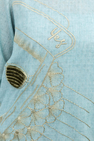 Sea Green Knot Shirt with Experimental Embroidery on 100% cotton - yesonline.pk