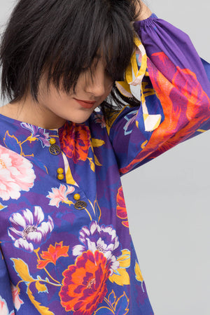 Purple Misty Flower Fusion Printed Shirt In 100% Cotton