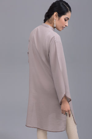 Light Beige karandi Stitch Kurta By Yesonline - yesonline.pk