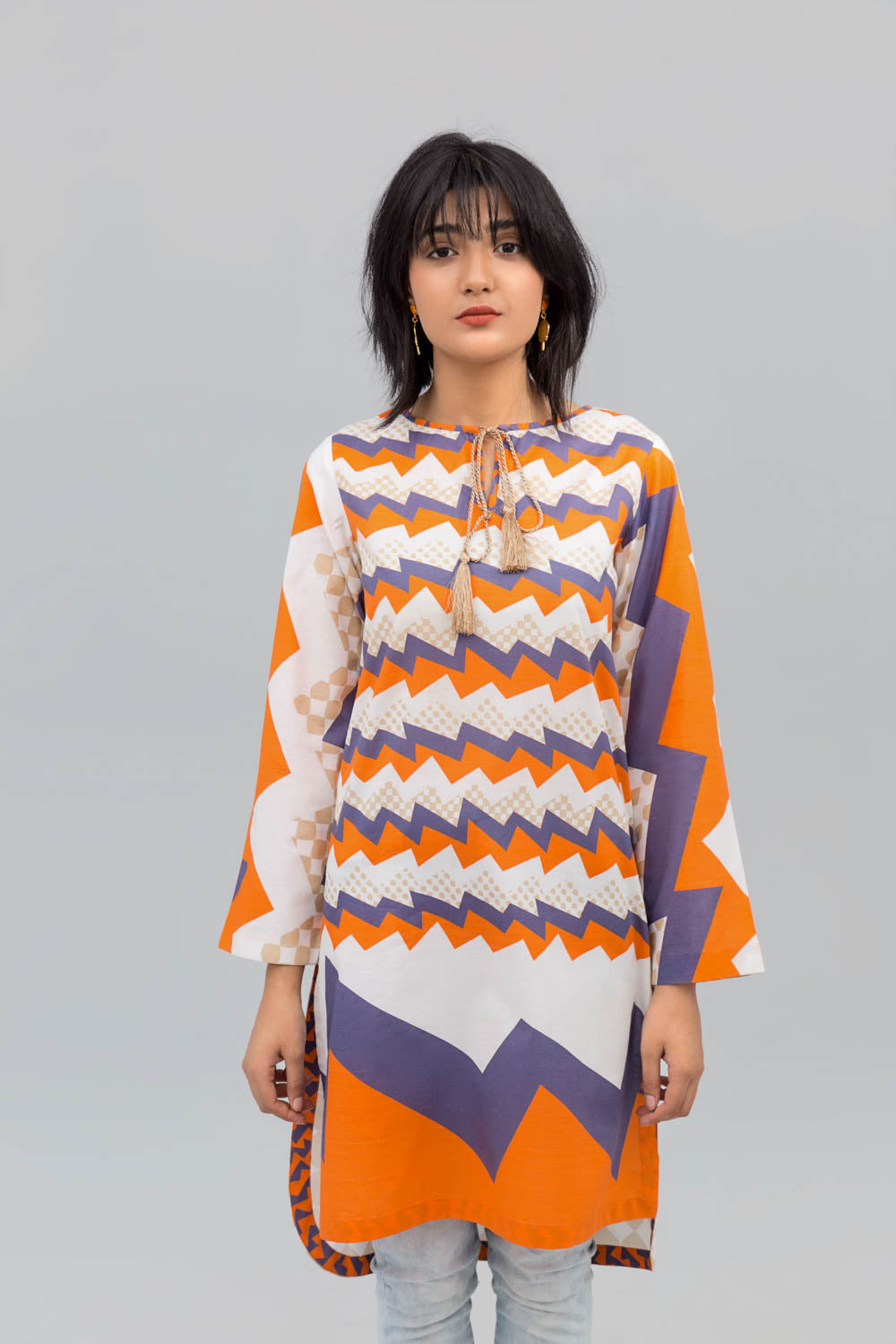 Orange & White Electric Wave Printed Shirt In Cotton (minimum 30 pieces & 10 from one design) - yesonline.pk
