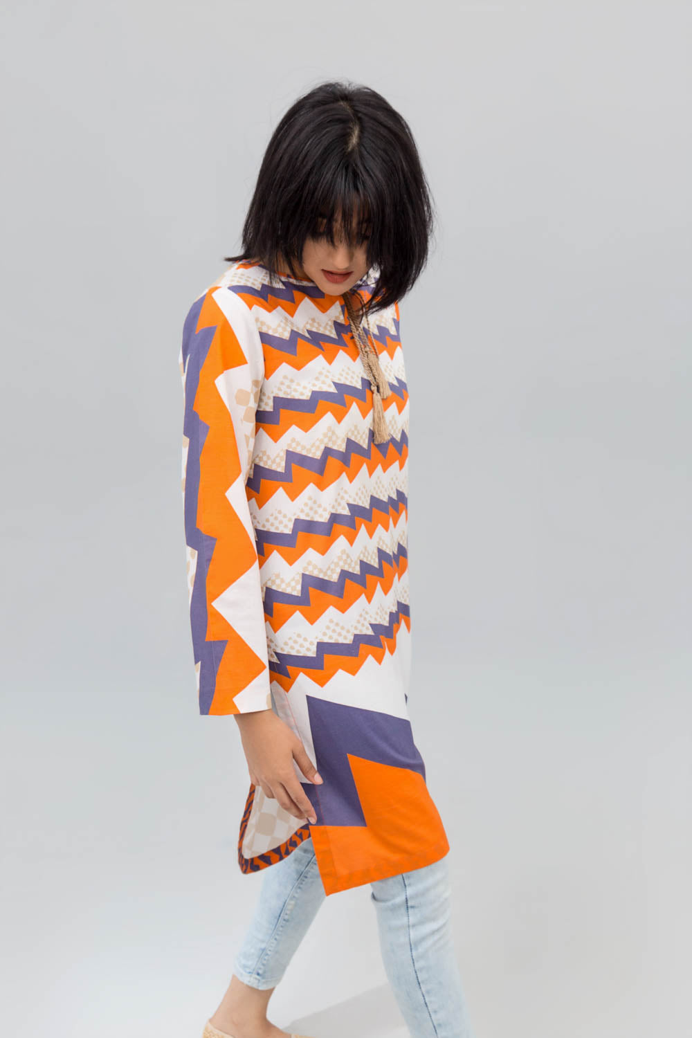 Orange & White Electric Wave Printed Shirt In Cotton