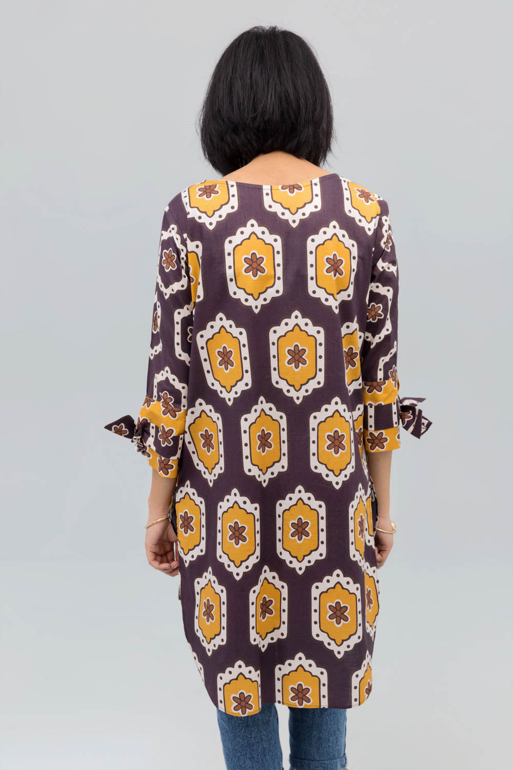 Brown Colour Honey comb Fusion Printed Shirt In 100% Cotton (minimum 30 pieces & 10 from one design) - yesonline.pk