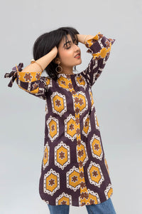 Brown Colour Honey comb Fusion Printed Shirt In 100% Cotton - yesonline.pk