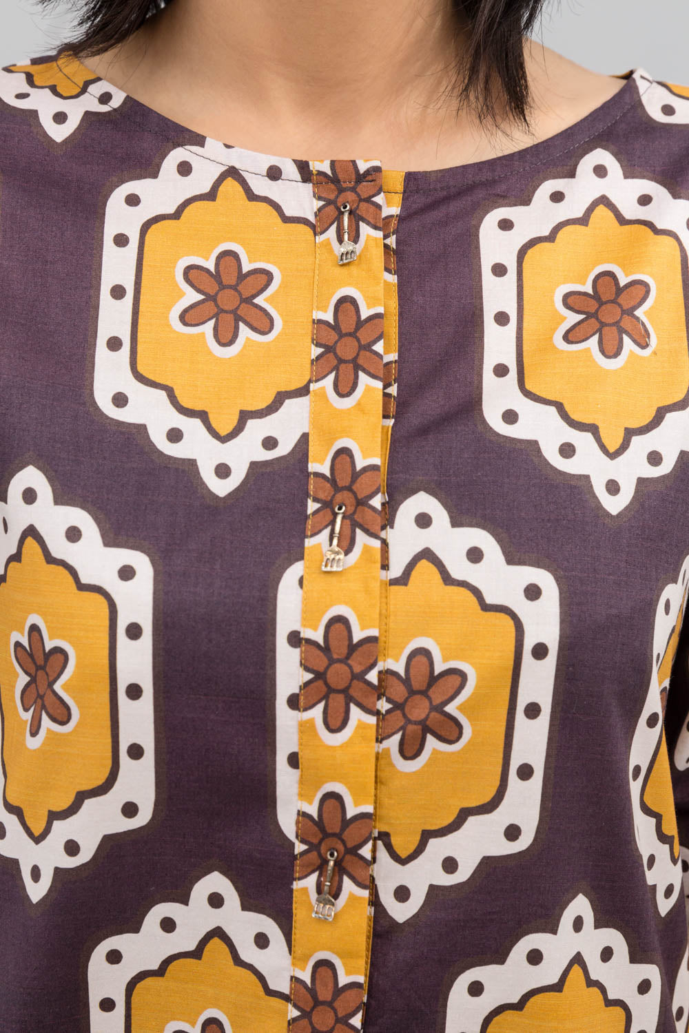 Brown Colour Honey comb Fusion Printed Shirt In 100% Cotton