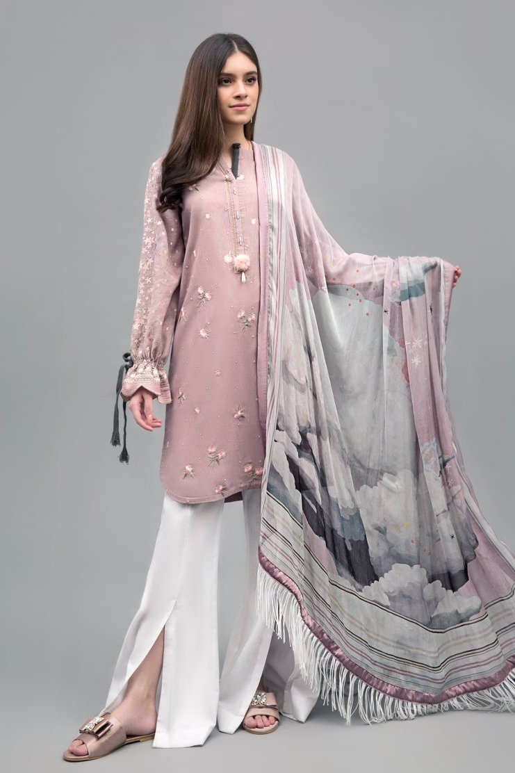 Cloudy Galaxy Unstitched 2PC Rice Karandi Shirt  Embroidered Plus Chiffon Dupatta