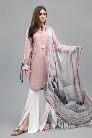 Cloudy Galaxy Unstitched 2PC Rice Karandi Shirt  Embroidered Plus Chiffon Dupatta - yesonline.pk