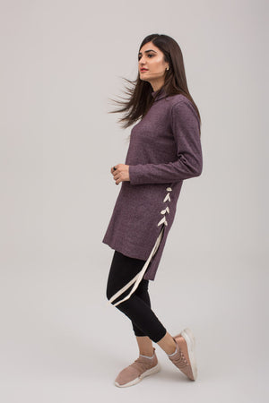 Side Laced Tunic Pullover Rib Fabric - yesonline.pk