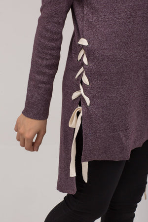 Side Laced Tunic Pullover Rib Fabric